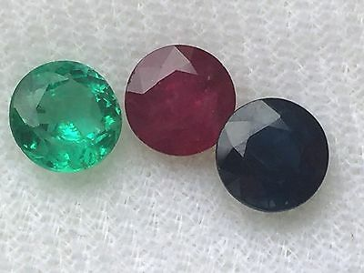 Superb 5mm three stone set EMERALD, RUBY and SAPPHIRE