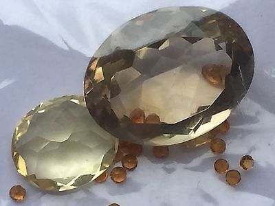2 x beautiful CHAMPAGNE zirconia 22mm and 14m - plus small yellow stones