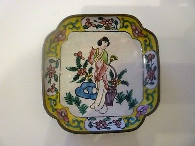 Antique c.1900 Chinese Lady Famille Rose Enamel Copper Canton Trinket DISH Tray