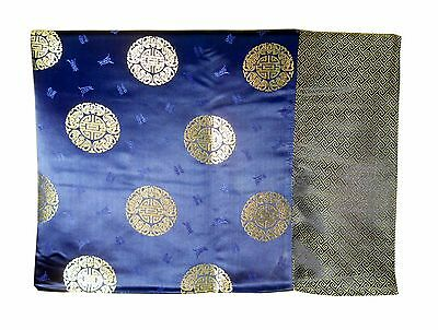 Custom-Made in USA, Art Silk Throw or Bed Scarf, Blue (6108)