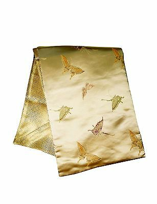 Custom-Made in USA, Art Silk Throw or Bed Scarf, Light Gold (6116)