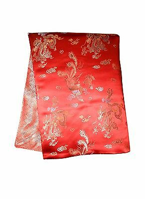 Custom-Made in USA, Art Silk Throw or Bed Scarf, Red (6121)