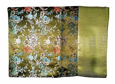 Custom-Made in USA, Art Silk Throw or Bed Scarf, Olive (6104)