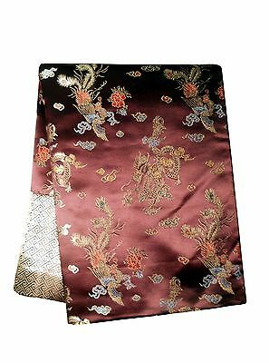 Custom-Made in USA, Art Silk Throw or Bed Scarf, Brown (6111)