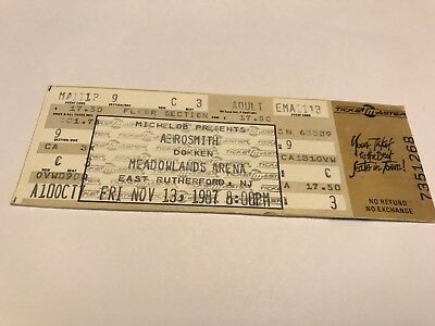 Rare Aerosmith Unused Concert Ticket 11/13/1987 New Jersey  Meadowlands