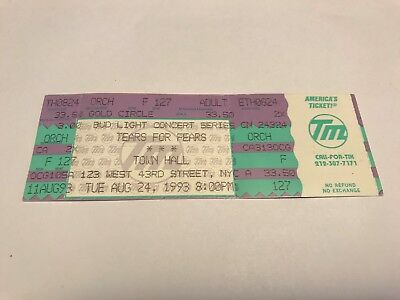 Rare Tears For Fears Unused Concert Ticket 8/24/1993 Town Hall Nyc