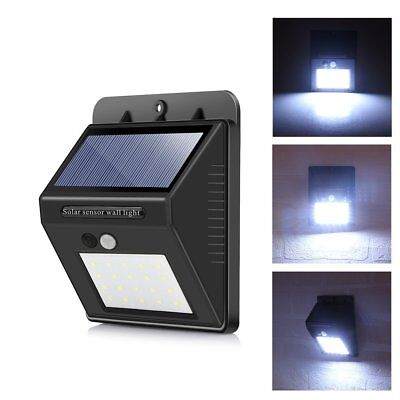 4xSolar Powered 20 LED PIR Motion Sensor Security Wall Light Outdoor Garden Lamp
