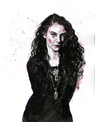 LORDE Original Ink and Water Color Drawing - Graphic Art 11 x 14 Illustration