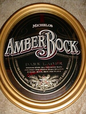 "Beautiful Michelob Amber Bock Beer Dark Lager Mirror Sign 23"" x 20"" Bar Man Cave"