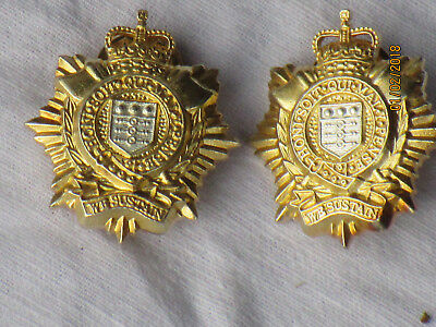 Royal Logistic Corps, or RLC Brass, Collar Badges, Collar Badges, with Pins