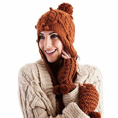 Ladies/Girls PERUVIAN Cable Knitted Pom Pom Hat One Size TAN