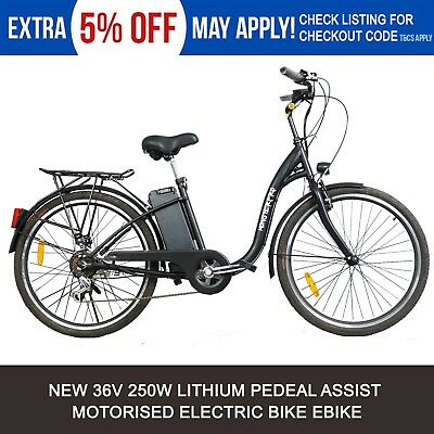 Black 250W ELECTRIC BIKE 36V EBIKE URBAN SCOOTER CITY BICYCLE LITHIUM BATTERY