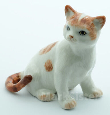 Figurine Animal Statue Ceramic Cat Kitten Brown & White Color - CCK107