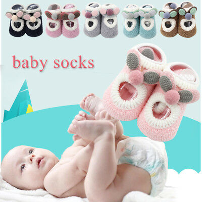 Newborn Boys Girls Baby Toddler Non-Slip Booties Shoes Socks Moccasins Slippers