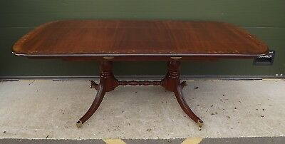 Antique Style Mahogany & Walnut Extending Pedestal Dining Table With One Leaf