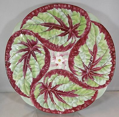 Antique Victorian Minton Majolica Plate Decorative Coleus Leaf Style Design