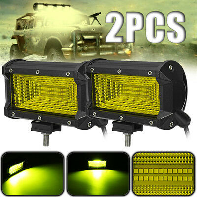 2X 5Inch 24 LED Work Light Bar Flood Driving Lamp SUV Truck Offroad 4WD Amber