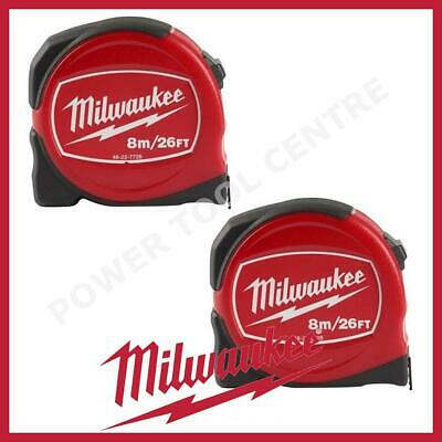 2x Milwaukee 48227726 Pro Compact Tape Measure 8m/26ft Jobsite Durable S8-26/25
