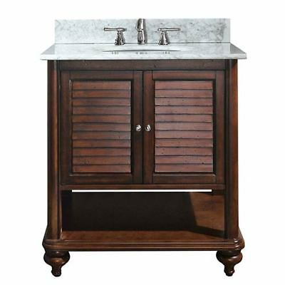 Avanity Tropica Antique Brown 30-Inch Sink Vanity with Carrera White Marble Top