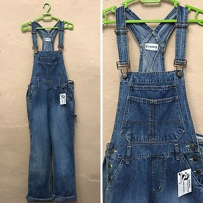 VINTAGE WOMENS DUNGAREES OVERALLS FADED BLUE DENIM 90s (d7) SIZE 10