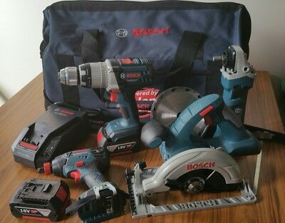 BOSCH Professional Heavy Duty 4 pce Combo 18v Cordless drill grinder saw ++ NEW