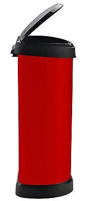 40 Litre Metal Effect One Touch Deco Bin Red Kitchen Home Waste Clean Easy