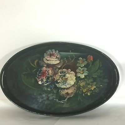 Victorian Bargeware Papier Mache Tray Floral Green Hand Painted Antique