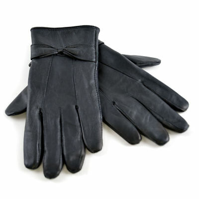 Womens Ladies Thick Sheepskin Fleece Lined Black Leather Gloves for Cold Weather