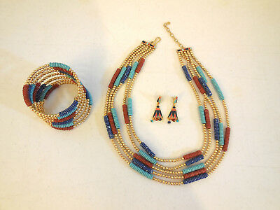Set of Egyptian Jewelry MMA Replicas Lapis Turquoise Carnelian 18K Gold Overlay