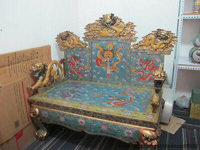 Large China Royal Emperors palace pure Bronze cloisonne Huge Dragon Seat chair