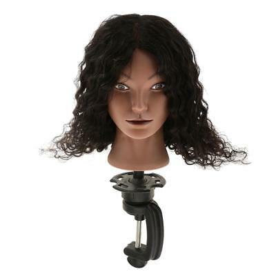 Cosmetology Silicone Human Hair Practice Training Mannequin Head + Clamp Set