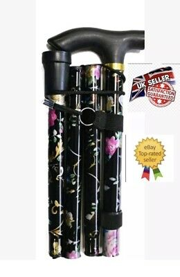 Flower Black Adjustable Light Weight Easy Fold Aluminium Walking Sticks Cane