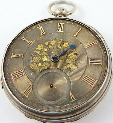 Antique silver dial fusee pocket watch H.M 1871 Not working for parts or repair.