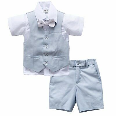 Page Boy Christening Wedding 4pc Short Linen Blend Pale Blue Suit 6 Ms - 5 Yrs