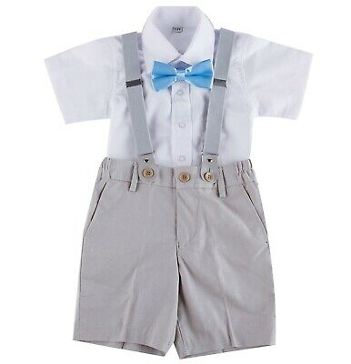 Page Boy Christening Wedding 4pc Short Linen Blend Suit with Braces 6 Ms - 5 Yrs