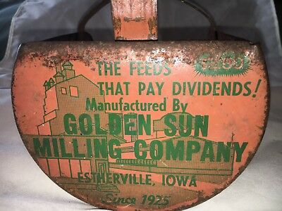 Golden Sun Milling Company Feed Scoop Estherville Iowa VINTAGE! Great graphics!