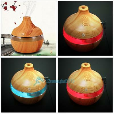 300ml Ultrasonic Humidifier Wood Grain LED Essential Oil Diffuser Color Changing