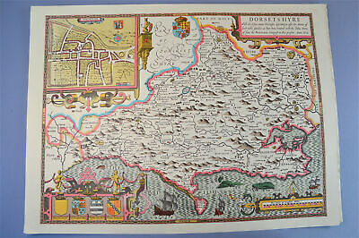 Vintage decorative sheet map of Dorsetshire Dorset John Speede 1610