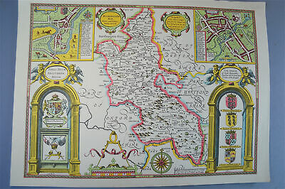 Vintage decorative sheet map of Buckinghamshire Buckingham John Speede 1610
