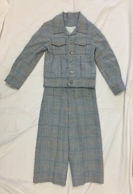 Vintage 1970's Boy's Handmade Plaid Pleated Suit Flared Pants Coat Jacket EUC