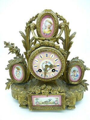 Japy Freres & PH Mourey Paris French Gilt-metal Mantel Clock with Sevres panels