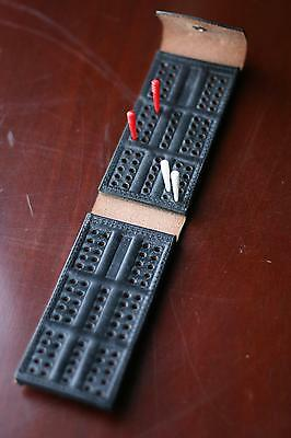FOLDING CRIBBAGE BOARD  DOMINOES TOP GRAIN Solid Leather Quality Crafted NEW !