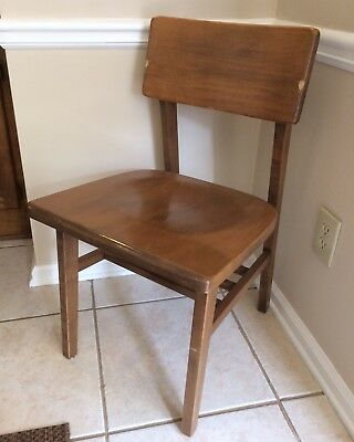Vintage Mid Century Solid Wood School Library Chair! Antique Midcentury Wooden