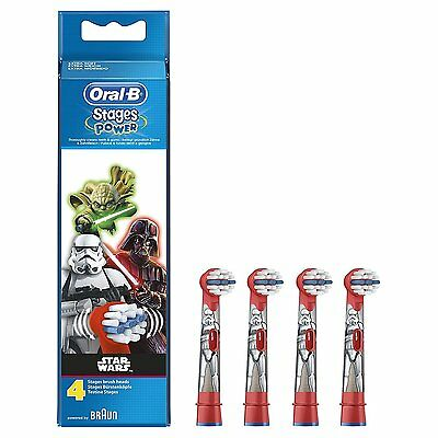 Braun Oral-B STAGES POWER STAR WARS Replacement Electric Toothbrush Heads 4 Pack