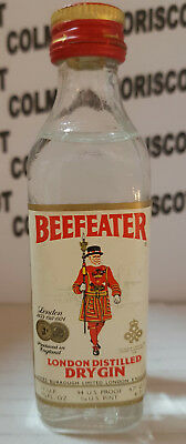 GIN BEEFEATER 4,7cl 47%   94 US proof  1/10 US pint mignonette mini bottle glass