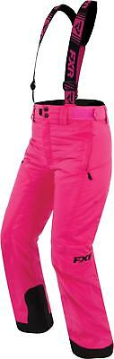 FXR Squadron Youth Snow Bibs Fuchsia Pink/Black