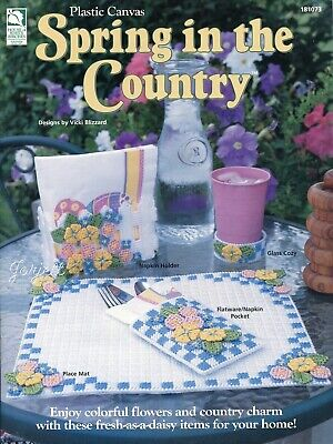 Spring in the Country ~ 12 Flowers & Checks Projects plastic canvas patterns