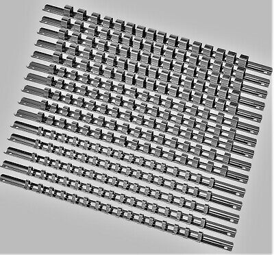 "15pcs Socket Rails 1/4"" 3/8"" 1/2"" 16 Clip On Rail Tool Organizer Storage US SHIP"