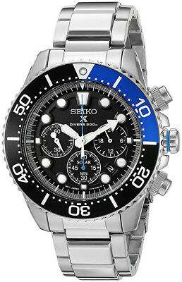 Seiko Men's Prospex Solar Chrono  200m Stainless Steel Watch SSC017
