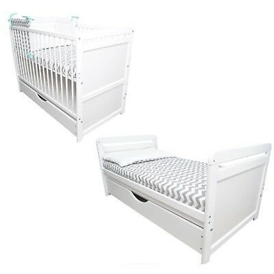 Baby Cot Bed With Drawer / Converts to Junior Bed size 120x60 + Coconut Mattress